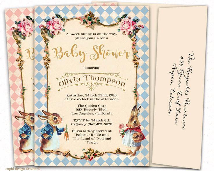 Peter Rabbit Baby Shower Invitation   Beatrix Potter Baby Shower Invitations    Bunny Baby Shower Invitation   Custom Printed Invitations