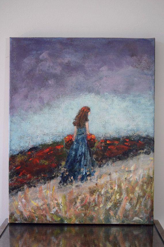 Ursprünglichen figurativen Malerei Blumen-Mädchen den Weg der Träume 11 x 14 Swalla Studio Bouquet Blumen Strauß roter Mohn Aqua zeichnen
