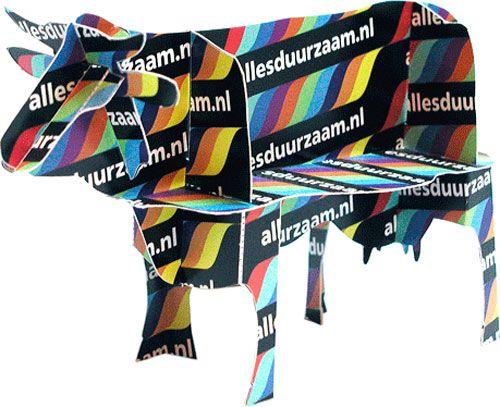 Przewalski Ontwerpers Arnhem | Modelbouwplaat-op-maat: Tweezijdig Bedrukte A4-bouwplaat van een Koe