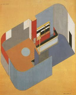 "Alberto Sartoris was an Italian architect who was a member of the Rationalist Movement. He was famous for his theoretical work and writing, but had few projects actually built. This plan projection drawing titled ""Hermitage"" (1933) straddles the line between architectural drawing and abstract painting."