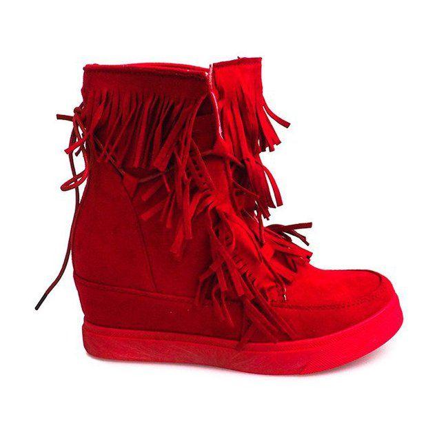 Sneakersy Na Koturnie Z Fredzlami Boho 881 2 Czerwony Czerwone Fashion Wedge Sneaker Sneakers