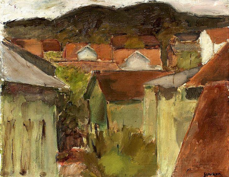INGE SCHIÖLER (1908-1971). Coastal Village