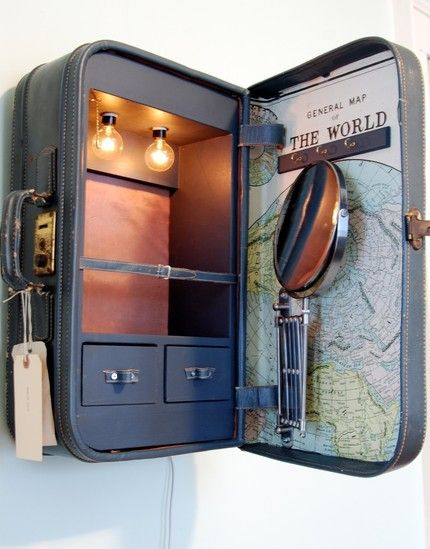 old suitcase turned into a cabinet. #diy #crafts #wedding www.BlueRainbowDesign.com