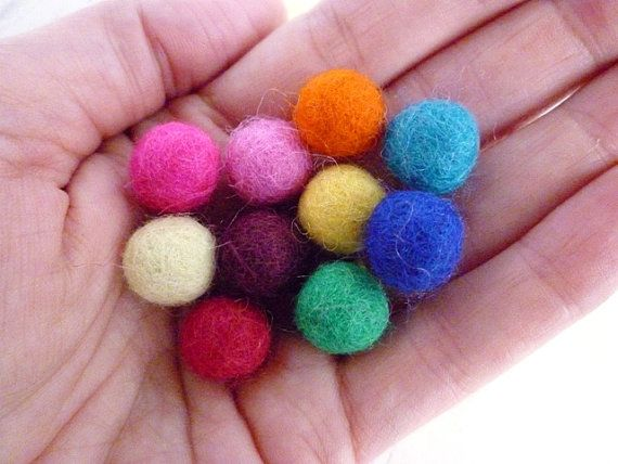 Felt Balls SMALL x 50 - Mixed Colours - 1cm