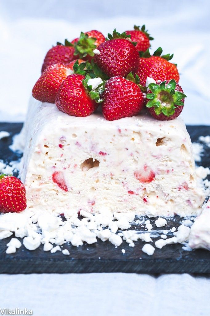 Eton Mess Semifreddo- this dessert is a show-stopper, made with whipped cream, strawberries and meringue. Just pull it out of the freezer and wow your guests!