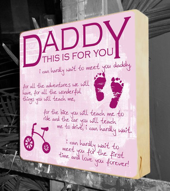 Daddy-To-Be present 10 x 10 birch Personalize with babies name/birth date, you choice of color and graphics - Baby shower gift, New parents gift