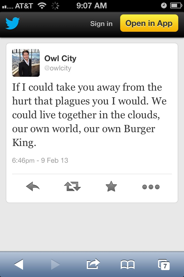 (I'm sorry I pin so many of his tweets, I should stop now...) just what I needed to hear.. Until the Burger King part XD