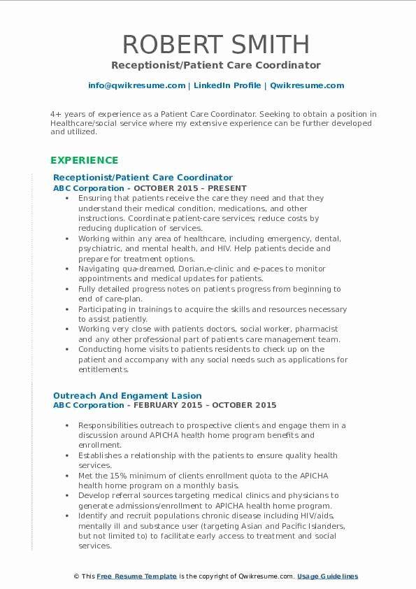 Patient Care Coordinator Job Description Resume Best Of Patient Care Coordinator Resume Samples In 2020 Resume Examples Teacher Resume Examples Manager Resume