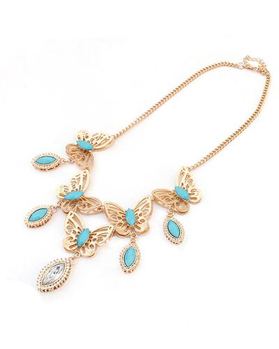 Metal Butterfly Light Blue Drop Gemstone Pendant Chain Necklace AC0020148-2