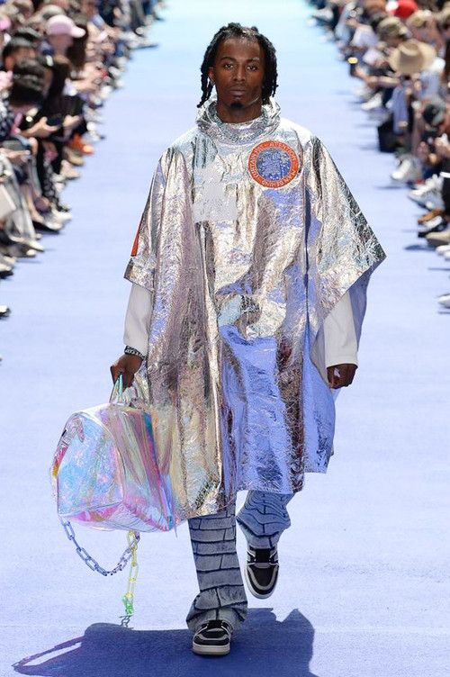6192780a5a3b Virgil Abloh Louis Vuitton Paris Fashion Week Men s 2019 Silver Metallic  Jacket Holographic Holdall Bag Playboi Carti