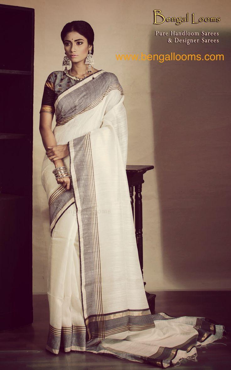 Pure Handloom Khadi Silk Saree in white and black.
