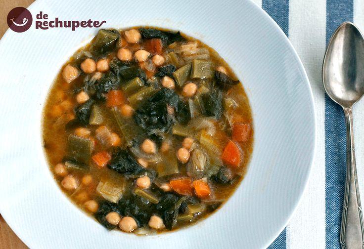 Cómo preparar un potaje de verduras. Una receta sana, saludable, fácil y barata, perfecta para comer en el menú semanal. Paso a paso, vídeo y fotos