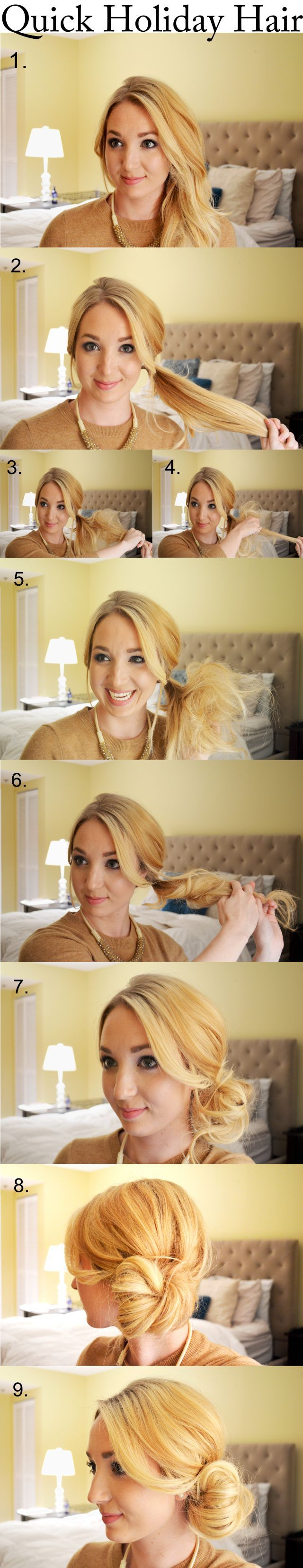 Quick Holiday Hair – the perfect low side bun – DIY – Hairstyle – Haircuts – Step By Step Hair Tutorial