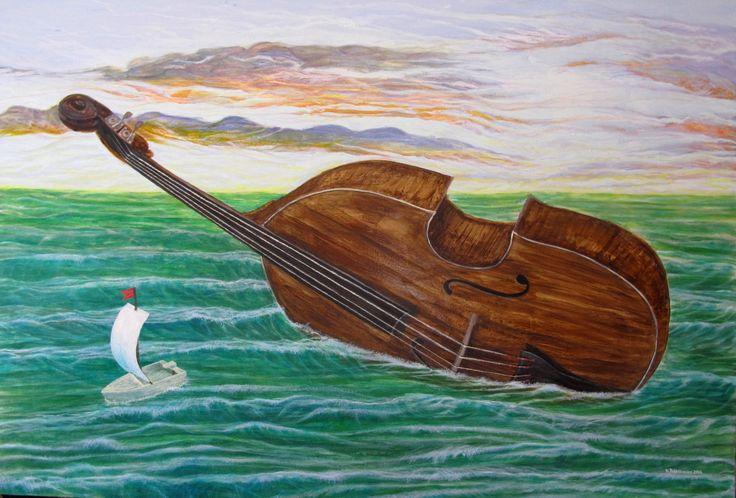 CONTRABASS | 93 x 63 cm | Acrylic and Oil Painting on Hardboard | by Krzysztof Polaczenko ® 2014