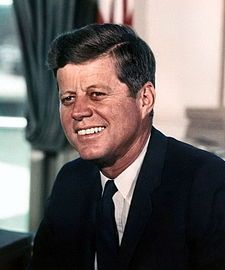 John  Kennedy (May 29, 1917 – November 22, 1963) was an American politician who served as the 35th President of the United States from January 1961 until his assassination in November 1963. Notable events during his presidency included the Bay of Pigs Invasion, the Cuban Missile Crisis, the Space Race (which later culminated in the moon landings), the building of the Berlin Wall, the African-American Civil Rights Movement, and increased US involvement in the Vietnam