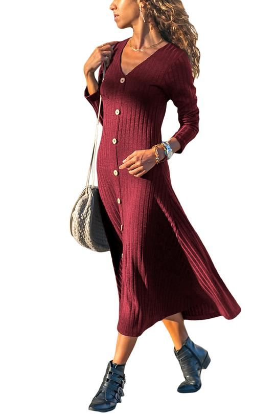 ddedfe38f428f New Burgundy Button Front Long Sleeve Ribbed Midi Dress – POPHERS #ribbed  #mididress #