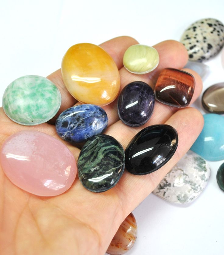 Grooved Cabochons Mix, Semi Precious Natural Gemstones, Macrame Supply - 20 pcs Parcel - 16.3-32.4 mm - 646.5 ct - 160726-05 by AliveGems on Etsy