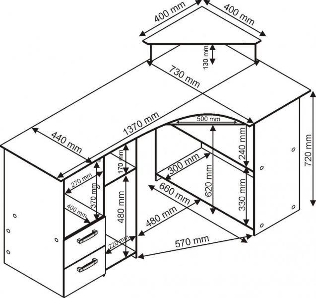 Detailní nákres stolu s kompletními rozměry všech částí -  Rohový psací stůl v provedení sonoma bílá (orientační foto) - www.nabytek-prodej.cz