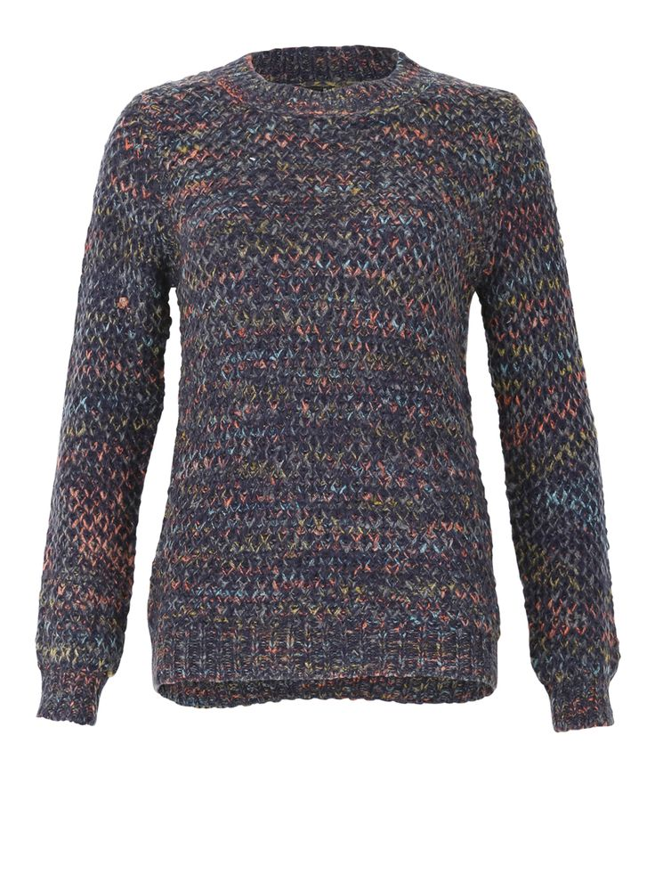A chunky knit jumper with long sleeves, wide cuffs and a small neckline. The multi-coloured look adds a splash of warmth to even the coldest of days. Undastened. Length 63 cm