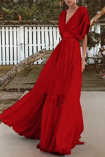 4ea691a33f43 Fashion V Collar High Waist Chiffon Vacation Maxi Dress | Vacation ...