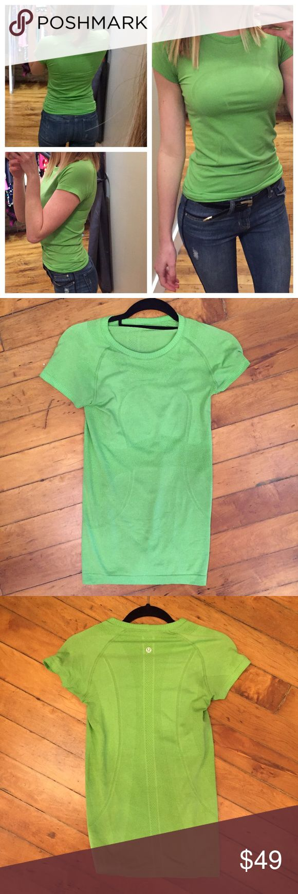 Lululemon green short sleeve top size 4 ⚜️I love receiving offers through the offer button!⚜️ Great condition, as seen in pictures! Fast same or next day shipping!📨 Open to offers but I don't negotiate in the comments so please use the offer button😊 lululemon athletica Tops