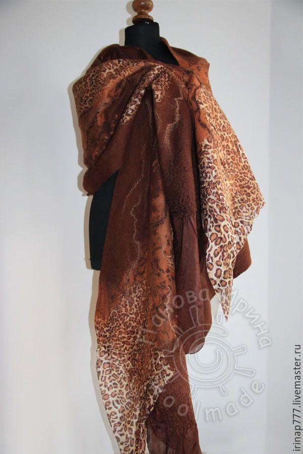 """Купить палантин """"Пенелопа"""" - коричневый, звериная расцветка, леопард, леопардовый принт, леопардовый, шоколадный цвет"""