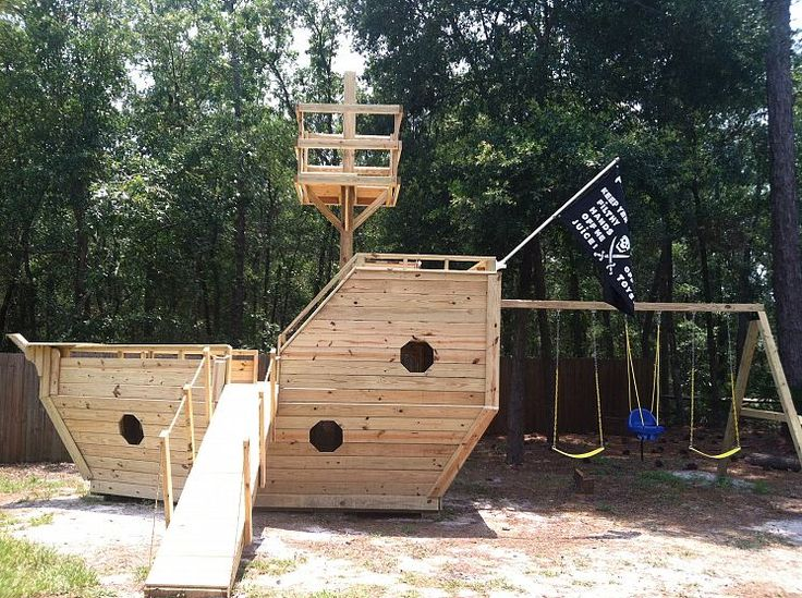 My mom and dad are planning on building the boys a pirate ship in their yard...this looks like a good start!
