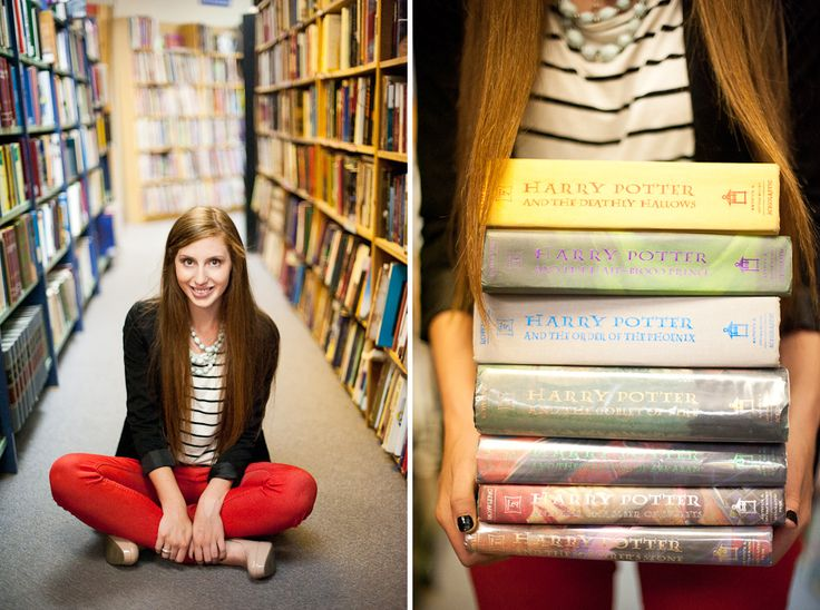 Idea stolen from senior portrait session; photo shoot in Powells/library