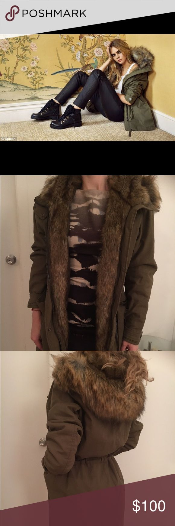 TopShop parka, excellent condition,worn few times TopShop parka from the fall-winter 2014 collection, excellent condition,worn a couple of times, beautiful fur collar and lining; color is olive Topshop Jackets & Coats Utility Jackets
