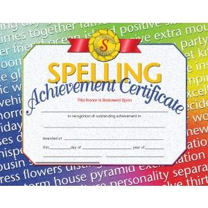 Spelling Achievement Certificate 30 Pack Downloadable