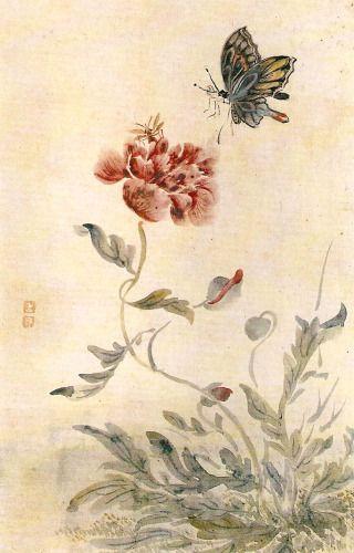 (Korea) 벌과 나비와 양귀비 by Shim Sa-jeong (1707-1769). ca 18th century CE. colors on silk.