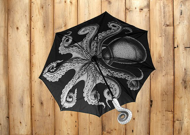 The Kraken Umbrella, $35 - I wish the top was plain black; it's a really busy pattern advertising Kraken Rum. Other than that, tho, SO COOL.