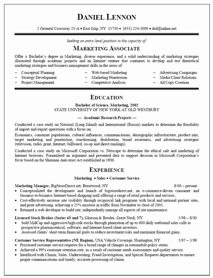 Resume for New College Graduate New Example Resume for