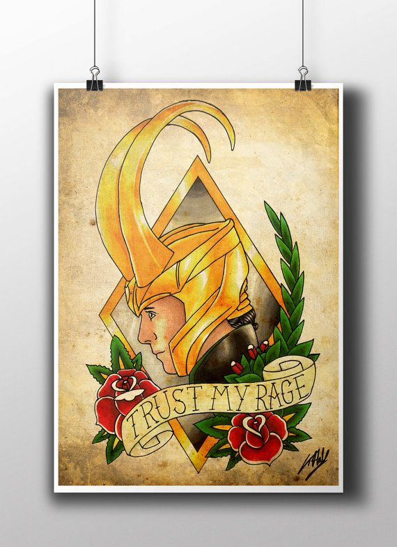 Loki Tattoo Parlour Poster Print by TattooHarbourPrints on Etsy