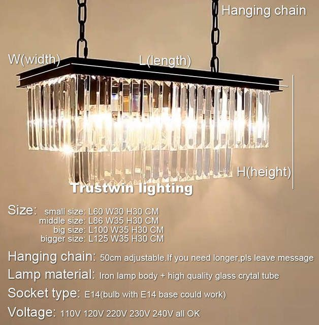 Rh American Classic Crystal Glass Tube Led Pendant Lamp Light