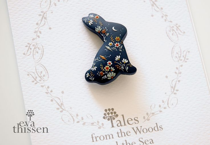 """Rabbit Brooch. One of a kind artwork by Eva Thissen, as a part of her collection """"Tales from the Woods and the Sea""""."""