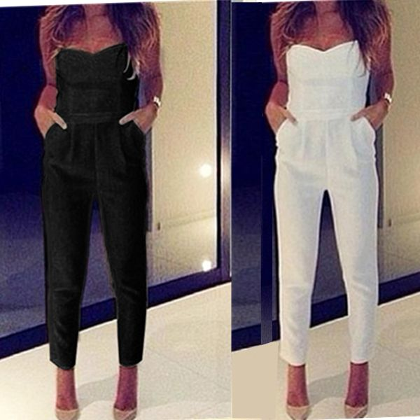 S-XL fashion sexy strapless slim women pants black white macacao feminino summer lady jumpsuit off shoulder sleeveless trousers //Price: $21.12 & FREE Shipping //     #hashtag2