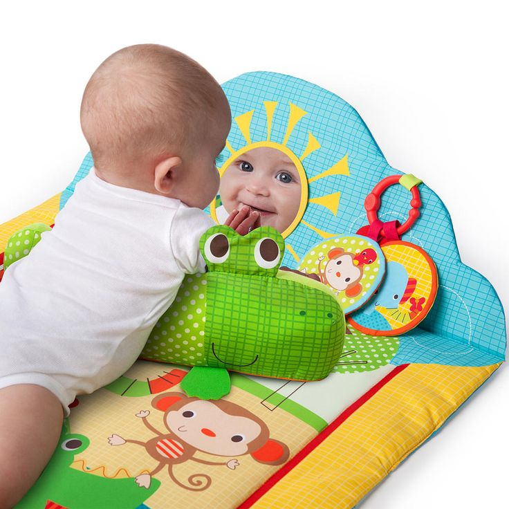 The Bright Starts Trade Mark Tummy Cruiser Trade Mark Prop & Play Mat is an adorable play area for baby The soft, padded car-shaped mat encourages tummy-time play and exercise in a bright, fun, auto theme. The activity dashboard features a steering wheel that clicks when turned, baby safe mirror for self-discovery, and removable prop pillow with fun ring rattles and teether keys. The perfect mat for any growing baby<br><br>The Bright Starts Tummy Cruiser Feature:<br><ul><li>Soft, padded car…