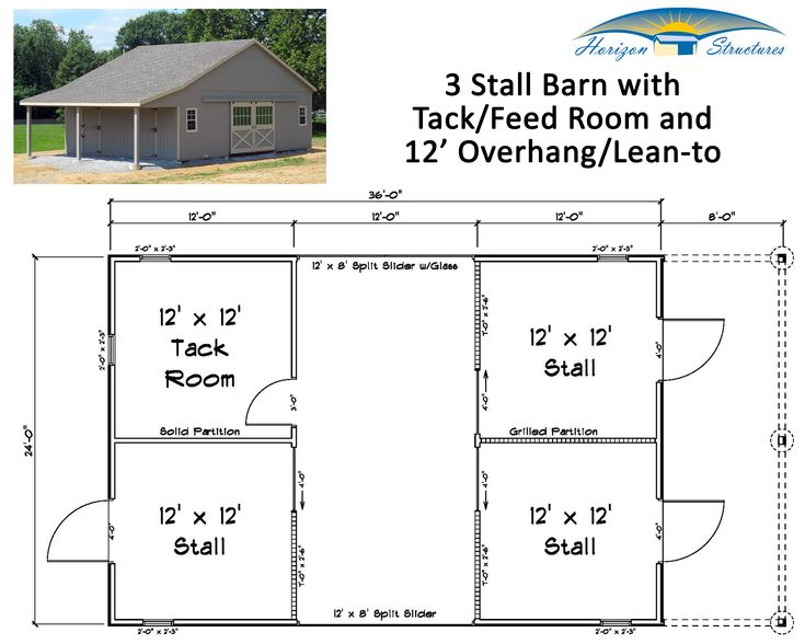 This 3 Stall Modular Barn Has 3 Roomy 12x12 Stalls A