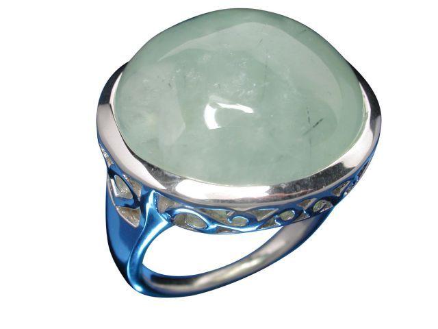 Sterling Silver 23mm Round Prehnite Ring-
