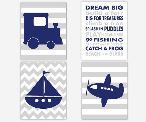Baby Boy Nursery Art Navy Blue Gray Train Plane Boat Dream Big