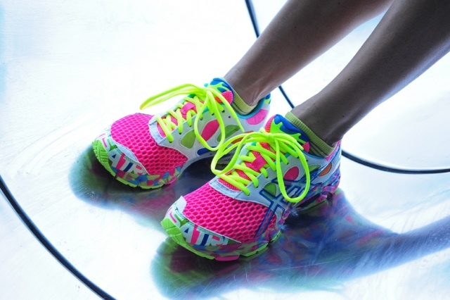 bright asics sneakers