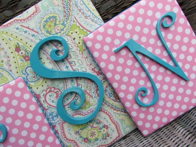 Nursery Letters, Pink And Turquoise Paisley, Sugar Baby
