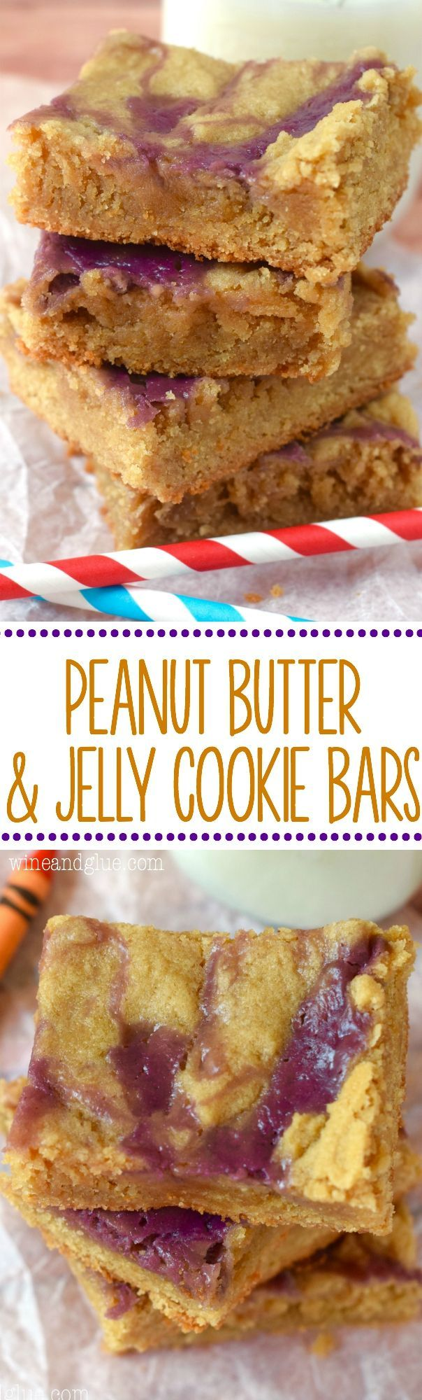 These Peanut Butter and Jelly Cookie Bars are a snap to make, but are SO GOOD the pan will disappear before you know it!