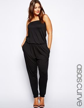 Image 1 of ASOS CURVE Exclusive Bandeau Jumpsuit With Peg Leg