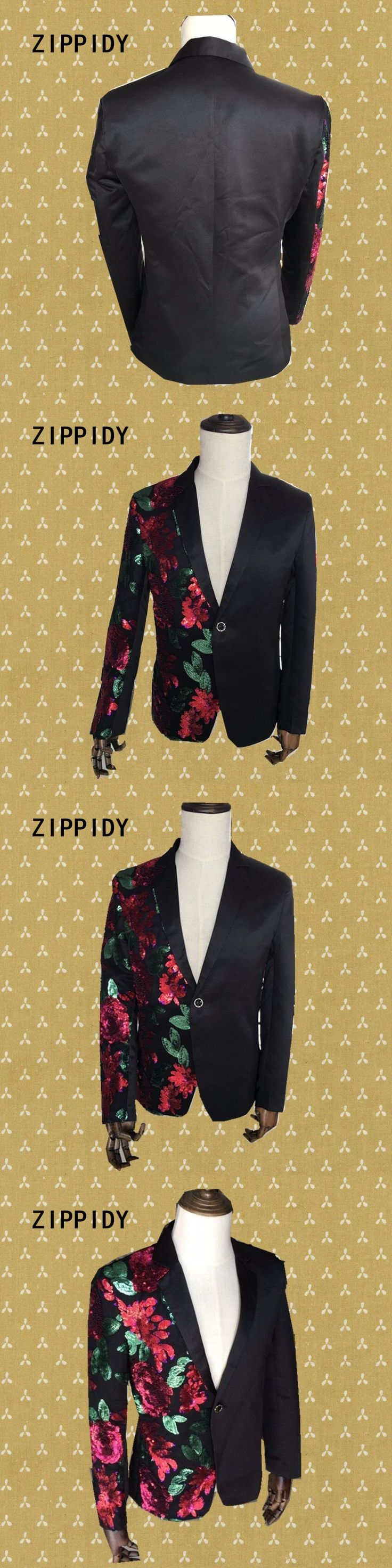 Red Green Sequins Flowers Men's Suit Jacket Wedding Nightclub Male Singer Sparkly Blazer Costumes Ds Dj Performance Party Wear
