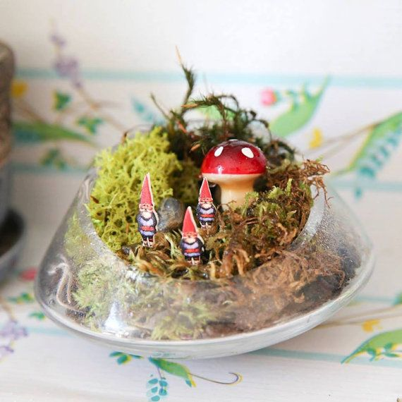 Set of 4 Red and Blue Miniature Garden Gnome Plant Toppers