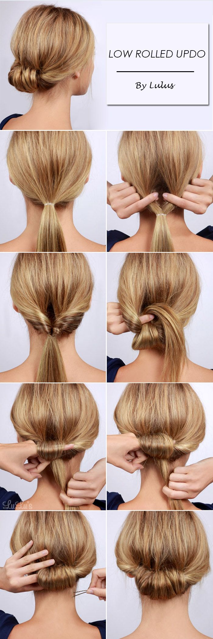Simple but Chic Low Rolled Updo for Summer 2017