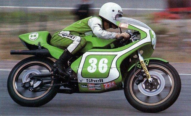 '77 WGP Spain GP Akihiko Kiyohara on Kawsaki KR250 !!