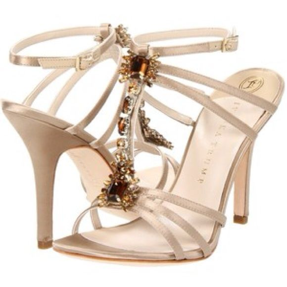party heels. Ivanka Trump Abilene Ivory heels with gorgeous stone accents. Worn once Ivanka Trump Shoes